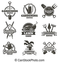 etiquetas, jardinagem, ajardinar, badges., jardim, ilustração, cuidado, vetorial, emblems., jardinagem, groundwork, trabalho, jogo, vindima, gramado, isolado