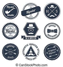 etiquetas, jogo, hipster