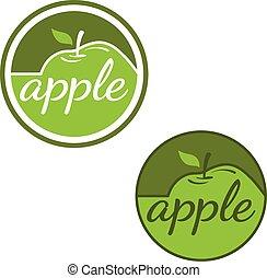 etiquetas, jogo, maçãs, vetorial