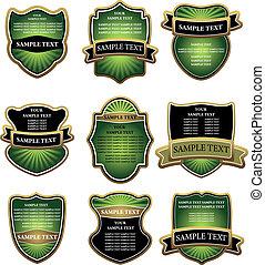 etiquetas, jogo, verde, ouro