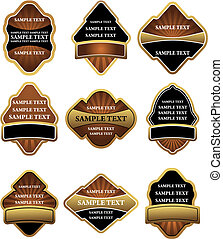 etiquetas, marrom, jogo, ouro