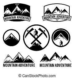 etiquetas, montanha, jogo, aventura, vindima