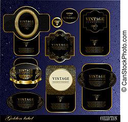 etiquetas, pretas, ouro