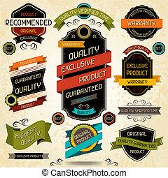 etiquetas, qualidade, stickers., jogo, prêmio