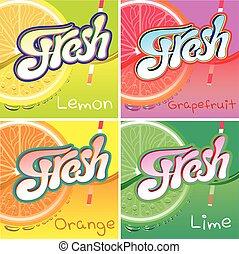 etiquetas, suco, jogo, fruta, fresco