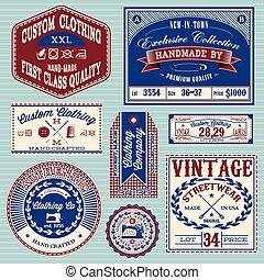 etiquetas, vindima, jogo, vetorial, roupas
