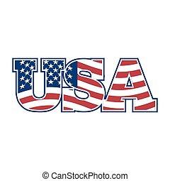 eua, nacional, sinal, letters., bandeira, américa, lettering.