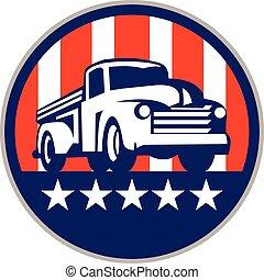 eua, vindima, cima, bandeira, caminhão, retro, pico, círculo