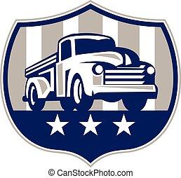 eua, vindima, cima, bandeira, caminhão, retro, pico, crista