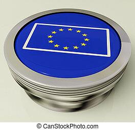 europa, governo, união, botão, bandeira, mostra, europeu