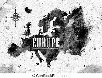 europa, mapa, tinta
