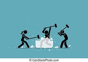 event., quebrar, gelo, jogo, icebreaker, atividade, ou