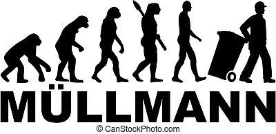 evolução, lixo, título, alemão, trabalho, homem
