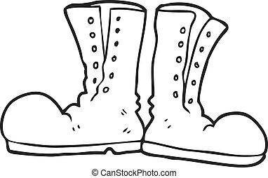 exército, botas, pretas, branca, brilhante, caricatura