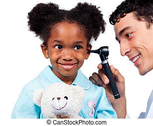 exame, adorável, fundo, menininha, isolado, médico, branca, assistindo