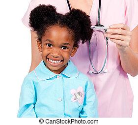 exame, adorável, menininha, médico, assistindo