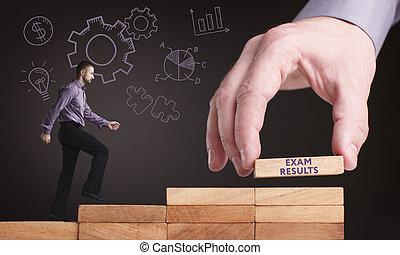 exame, concept., jovem, resultados, rede, internet, homem negócios, tecnologia, negócio, mostra, word: