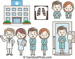 exame, ilustrações, médico, jogo
