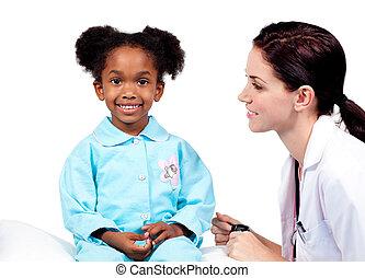 exame, menininha, cute, médico, assistindo