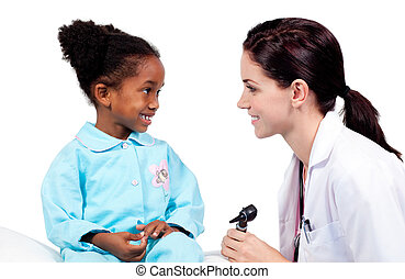 exame, menininha, sorrindo, médico, assistindo