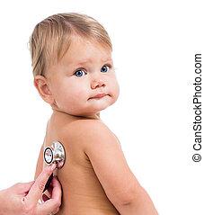 examinando, pequeno, doutor, isolado, estetoscópio, pediátrico, menina bebê, branca