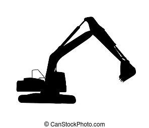 excavator., isolado, trabalhando