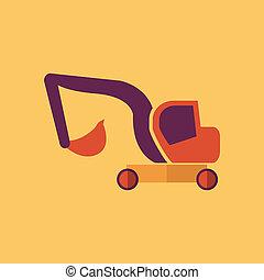 excavator., transporte, apartamento, ícone
