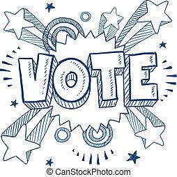 excitado, aproximadamente, votando, esboço
