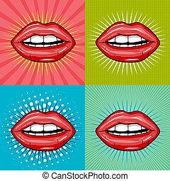 excitado, lábios, vermelho, molhados
