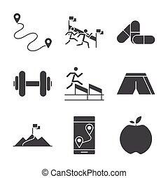 executando, acabamento, desporto, bandeira, linha, maçã, barbell, jogo, medicina, pista, ícones, raça, desenho