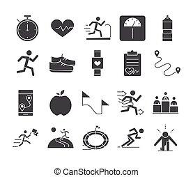 executando, desporto, linha, jogo, ícones, raça, desenho