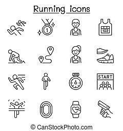 executando, linha, estilo, jogo, competição, magra, ícone