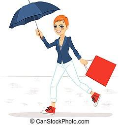executando, mulher, guarda-chuva