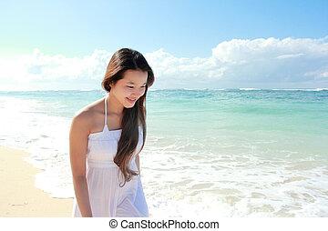 executando, mulher, praia, jovem, feliz