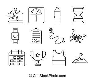 executando, perda, desporto, bandeira, esperto, escala, calendário, linha, jogo, pista, ícones, raça, desenho, relógio