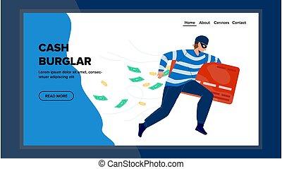 executando, vetorial, dinheiro, cartão crédito, assaltante, banco