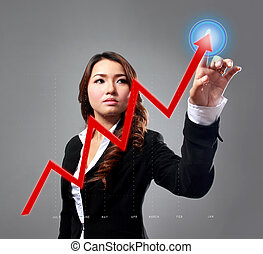 executiva, dedos, cima, dela, mapa