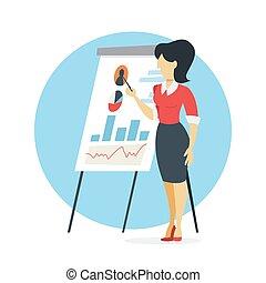 executiva, fazer, apresentação, mapa, gráfico
