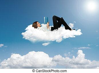 executiva, livro, leitura, nuvem