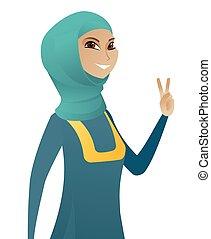 executiva, mostrando, muçulmano, jovem, vitória, gesto