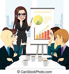 executiva, reunião, grupo