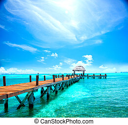 exoticas, conceito, mexico., resort., jetty, cancun, tropicais, férias, viagem, turismo