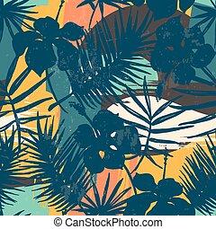 exoticas, plantas, padrão, seamless, tropicais, experiência., artisticos