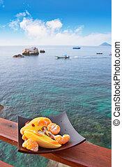 exoticas, prato, contra, mar, frutas, vista