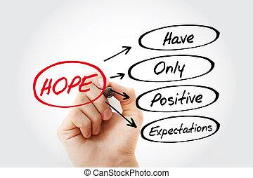 expectations, positivo, penduradas, -, esperança, cima