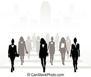 expedir, muitos, ir, mulheres negócios