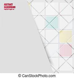 experiência., abstratos, vetorial, quadrados, branca