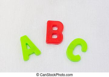 experiência., aprendizagem, abc, letras, língua, branca, brinquedo, inglês, escola, alfabeto, plástico