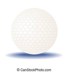 experiência., bola branca, golfe, isolado