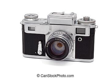 experiência., branca, câmera, antigas, isolado